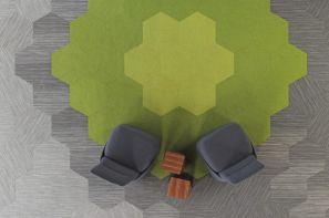 موکت طرح لانه زنبوری شرکت سیزل در غرفه مجازی مبلمان