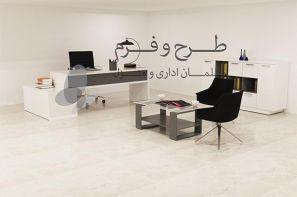 میز و صندلی و کتابخانه اداری در غرفه ی مجازی شرکت طرح و فرم